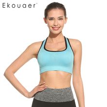 Ekouaer Pullover Women Bra High Impact For Workout Fitness With Removable Pads Full cup Patchwork Seamless Top Vest M L XL(China)