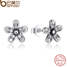 The 2017 BLACK FRIDAY DEAL Authentic 925 Sterling Silver Dazzling Daisy Stud Earrings With Clear CZ Jewelry Special Store PAS403(China)