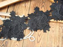 1 Meter 13cm Exquisite Sexy Black Lace Trim Flower Pattern 2 Layers Embroidery Lace Fabric DIY Sewing Accessories(China)