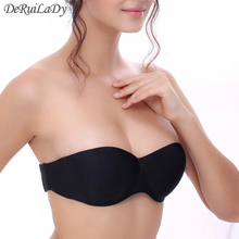 DeRuiLaDy Fashion Strapless Bras Seamless Push Up Bras Half Cup Underwire Back Closure Women Underwear Invisible Bra