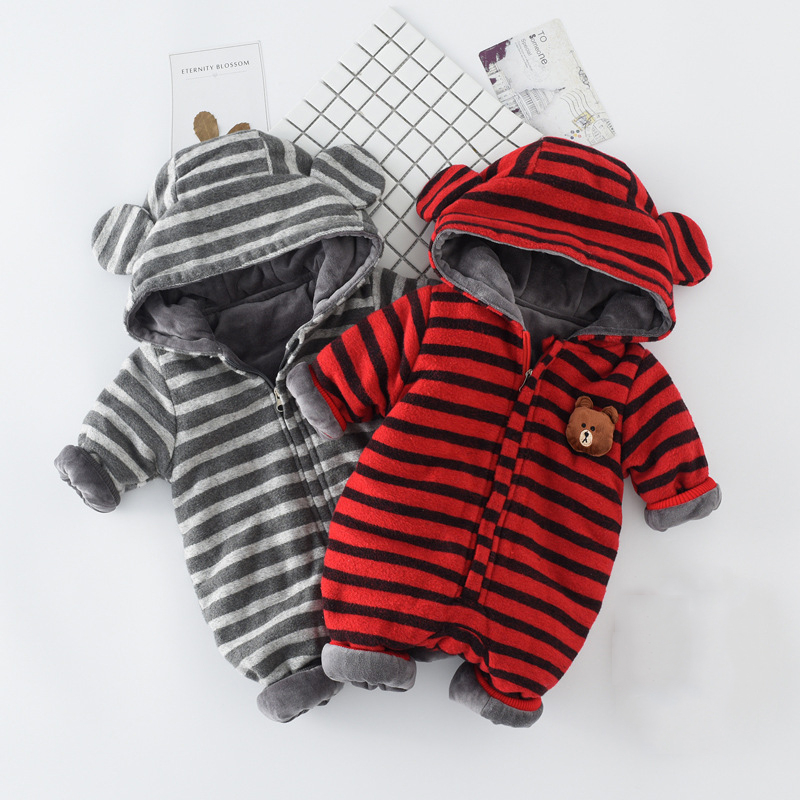 6M-24M Baby Clothing Baby Girl Romper Bear Thickening Rompers Striped Hooded Baby Boy Rompers Baby Girl Boy Clothes Winter V20<br>