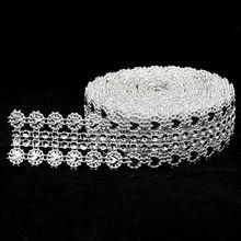 New Arrival 27mm Width Diamond Sparkle Rhinestone Crystal Mesh Ribbon Wrap Tape For Wedding Supplies Home Deco 5yards/roll