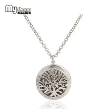 my shape Hollow Tree Of Life Round Locket Pendant With Colorful Refill Perfume Pads Essential Oil Diffuser Necklace Jewelry