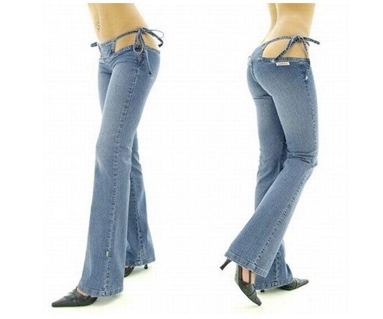 Sexy Women Low Rise Waist Nightclub Jeans Sexy Bandage Hollow Low-waist Flare Pants Sexy Club Wear High Quality FX1065Îäåæäà è àêñåññóàðû<br><br>