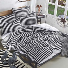 striped black and white bedding sets leopard 3pcs/4pcs twin queen full blue and white duvet cover set kids children blue  #2