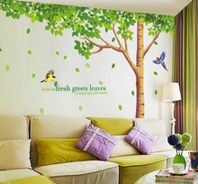 Free shipping  310x204cm big size extra large wall decals fresh green leaves plant tree home decor wall stickers mural art