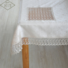 Special Sales Luxury 85cm 92cm Square Wide Embroidered Lace Trim Decorative Patchwork Damask Jacquard Tablecloth