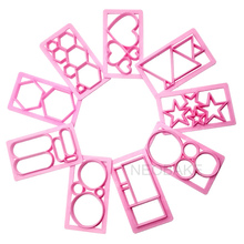 9Pcs Fence Fondant Cake Mold Embosser Geometric Figure Heart Star Cookie Cutter Biscuit Molds Embossing Fondant Decorating Tools(China)