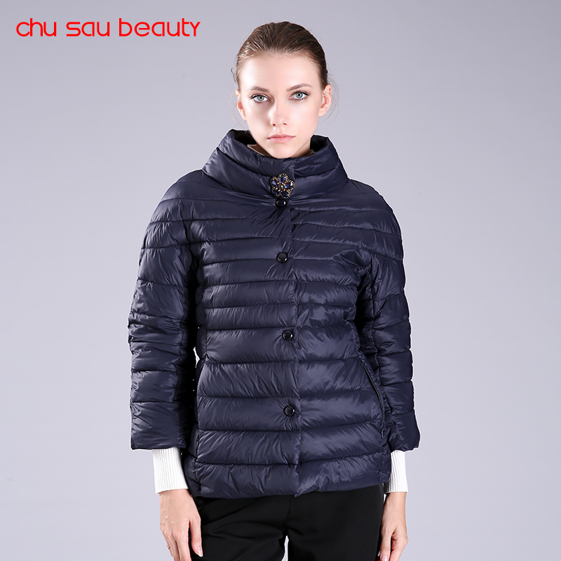 CHUSAUBEAUTY new spring autumn women jacket half sleeve high collar thin Quilted Jacket colors women thin jacket  C3239Îäåæäà è àêñåññóàðû<br><br>