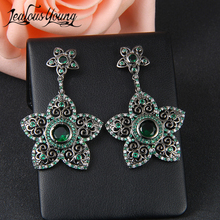 Bohemian Flower Earrings For Women Ethnic Green Stone Cubic Zirconia Drop Earings Black Gun Girl Dangle Earring AE362