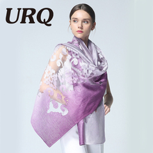 URQ New Silk Scarves For Women Luxury bandanas hijabs Embroidery Scarves Shawl Lace Cover ups Lady Spring Foulard S9A189044(China)