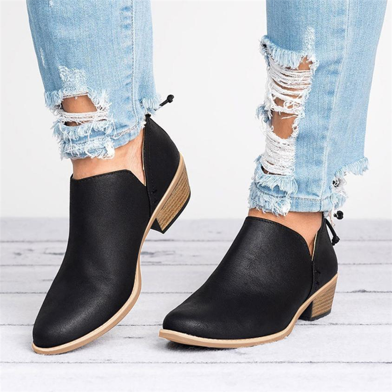 2018 NEW Women Ladies Autumn Shoes Fashion Ankle Solid Leather Martin Shoes Short Boots  O0531#3013