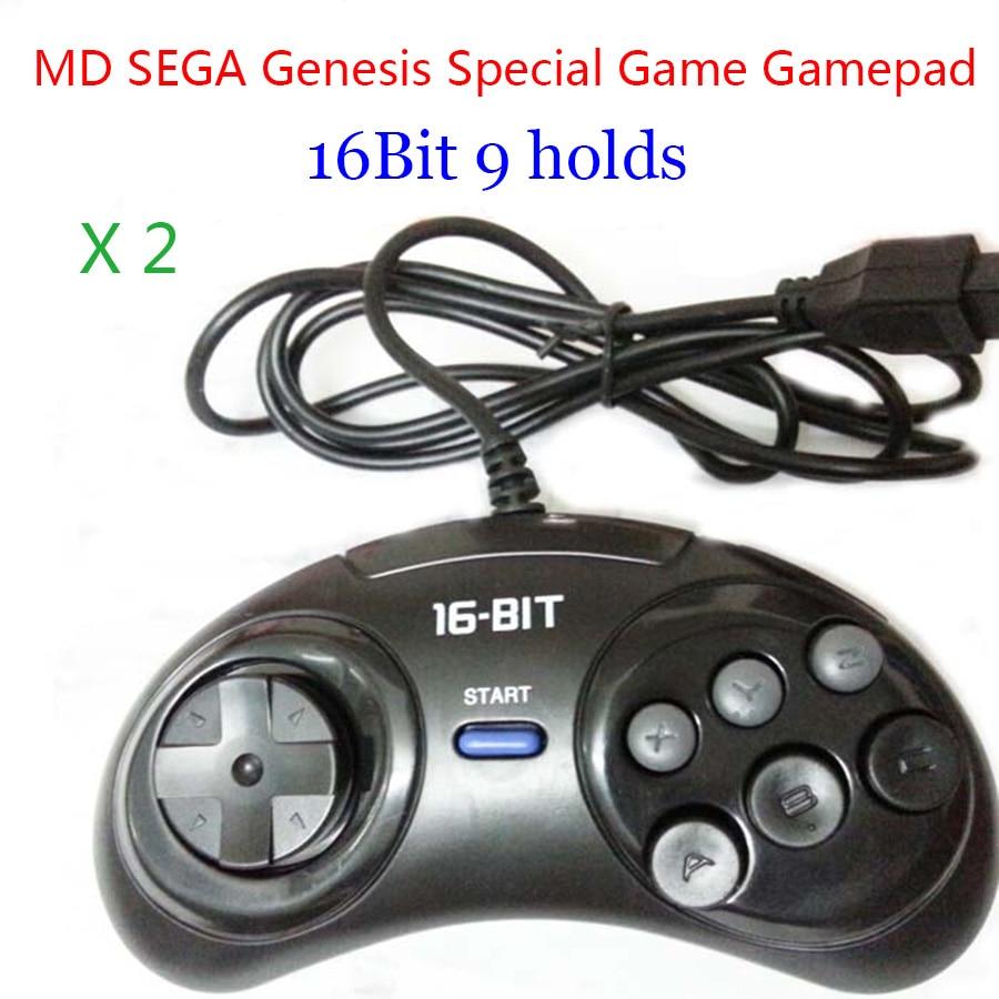 2pcs-MD-SEGA-Gamepads-16bit-Sega-Genesis-Game-controller-9-Holes-Sega-Joypad-high-quality-good