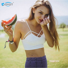 sexy sports bra bralette bustier crop top strappy Stripe cropped tops women cheap blusa Bandage Halter Tank Tops Camisole