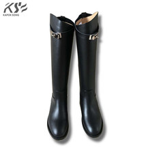 genuine leather women kelly boots knee high luxury designer brand boots kelly buckle fashional lady H boots really cow leather