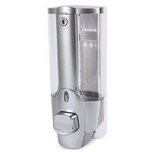 350ml Wall Mount Shower Kitchen Single Head Soap Dispenser with a Lock ABS Plastic Liquid Shampoo Vessel for Bathroom Washroom