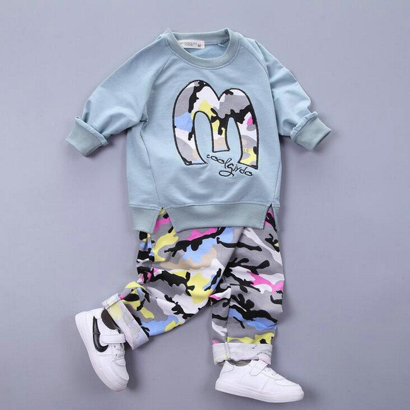 2017 Autumn Kids Clothing Set Letter M Print Shirt + Camouflage Pants Boys Girls Sport Suits Baby Tracksuit Kids Sweatershirt<br><br>Aliexpress