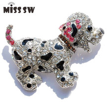 Rhinestone Brooch For Women pins Cute Dog Funny gift crystal brooches jewelry Animal brooch cute silver plated large Six Color(China)