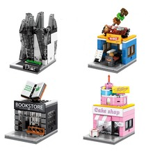 4 Styles/Set Bulding Blocks Mini City Series Street Toys Bookstore BBQ Cake Shop Assemble Model Bricks  Christmas Gift
