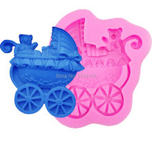 M397  Baby Bear Stroller Silicone Mold Chocolate Fondant Cake Decoration Tools Cake Candy Molds Soap Candle Mould 8*6.8*1.8CM
