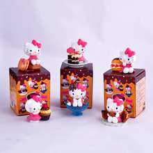 6pcs/set Hello Kitty Scene Action Figure Toys Cute KT Cat Figurines Model With Color Box Kids Gift Very  Beautiful Free Shipping