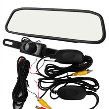 2017 Free Shipping 4.3LCD Car Rear View Mirror Monitor Wireless Night Vision Backup Reverse Camera Parking Camera Car dvr Hot