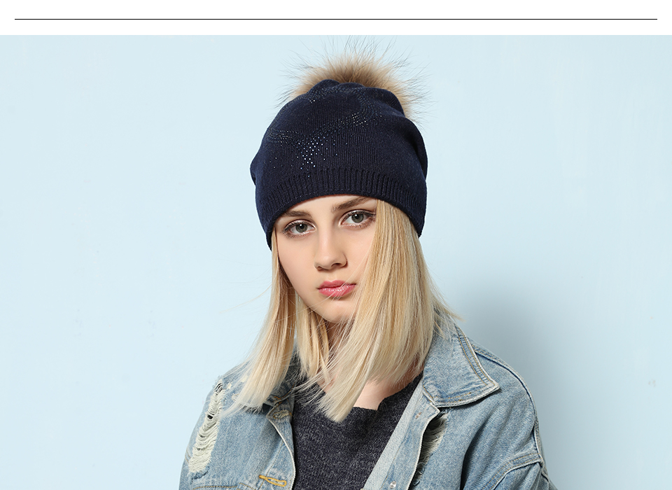 Ralferty 2018 New Real Fur Pompom Hats For Women Heart Pom Pom Beanies Thick Warm Wool Knitted Hat Women's Baggy Caps Bonnet 4