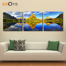 HD on canvas beautiful landscape blue sky mountain lake scenery wall art deco image home decoration paintings for living room w