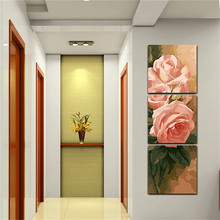 3pcs/set 60*180cm Pink Rose Flowers Unframe Picture Paint By Numbers DIY Digital Oil Painting Canvas Home Decoration HD1092