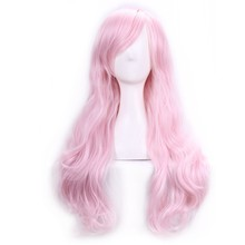 Pink Wig Heat Resistant Perruque Long Afro Kinky Curly Lolita Wigs Peruk Pelucas Cosplay Anime Synthetic Long Pink Wig