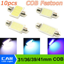 10PCS/lot 31mm 36mm 39mm 41mm Dome Festoon COB LED 12smd leds Car Reading Lamp Light Crystal Blue White Lights DC 12V(China)