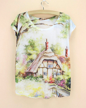 Newest pattern cute printed t-shirt women summer tee 2015 fashion design top tees novelty stylish girls t-shirts wholesale(China)
