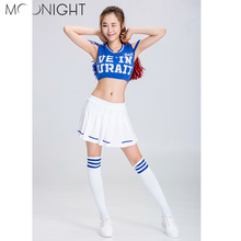 MOONIGHT Hot Sale Real School Girl Ladies Glee Cheerleader Costume Uniform Party Costume Tops+Skirt(China)