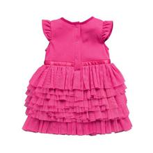 Newborn Baby Girl Cotton Short Petal Sleeve Layered Tutu Solid Rose Princess Party Ball Gown Everyday Dress