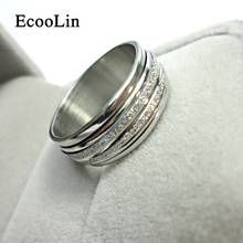 Never Fade Sliver Frosted Rotation Ring 2016 Fashion Jewelry For Man Woman Jewelry Stainless Steel Rings Free Shipping LR052(China)