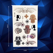 1PC Hot Fashion Fatima Hamsa Hand Designs Flash Waterproof Temporary Tattoo Stickers AMJ3025 Henna Eye Heart Wings Gold Tattoos