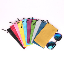1000pcs High Quality 9.5x19cm Microfiber Sunglasses Cloth Bag Drawable Mobile Power Pouch Packaging Can Custom Logo Printing(China)