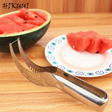 Qualitied 410 Stainless Steel Melon Cutter Slicer Watermelon Scoop Corer Slicer Fruit Melon Knife Creative Kitchen Tools