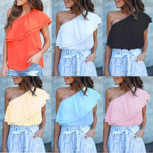 Fashion Womens Summer One Off Shoulder Ruffles Sleeveless Chiffon Blouse Shirts Ladies Loose Tops Party Club Clubwear Outfits