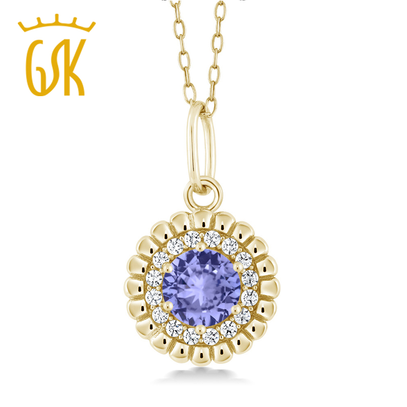 Gem Stone King Diamond Gold Color Necklace Blue Tanzanite 18K Yellow Gold Plated Silver Pendant Necklace Fine Jewelry(China (Mainland))