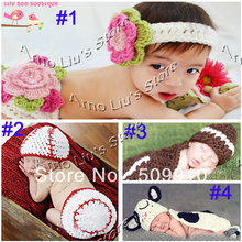Handmade Baby Hat Crochet Pattern Infant Photography Props Costume Set Kids Knit Cotton Cap Outfit Newborn 5sets