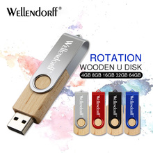 metal Wooden rotatable USB Flash Drive 4g 8g 16g pen drive 32g memory stick 64g pendrive 128g U disk free shipping(China)