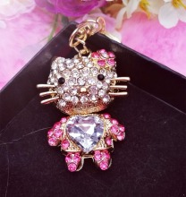 3pcs per lo Min.$15 (Mixed Order)  Rhinestones pink blue hello kitty lovely cat  Cell Phone DIY Alloy Decoration keychain charms