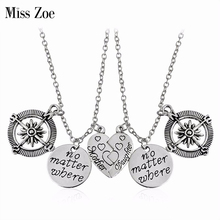 Miss Zoe 2pcs/set no matter where mother daughter Hollow Compass Heart Pendant Necklace Special Gift For Lovers Friends Jewelry