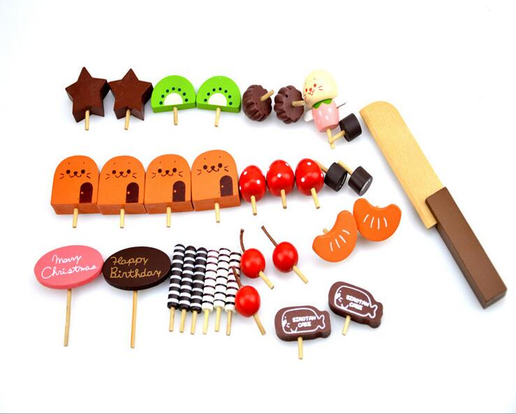 Baby Toys Simulation Wooden Cake Montessori Wooden Blocks Toy Educational Learning Kid Birthday Gift Baby Gift Blocks