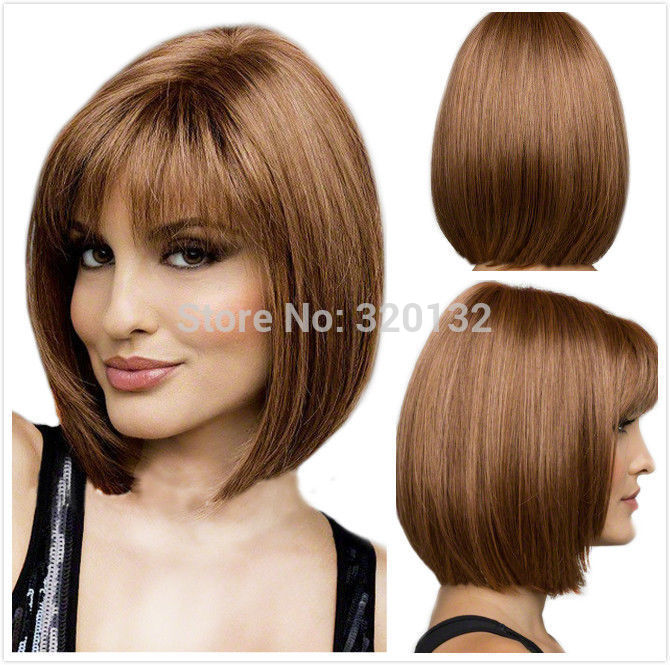 BOBO Short Straight Blonde brown Halloween Cosplay Wig Revlon body silk base closure uk indian weave no Lace Front Hair Wigs<br><br>Aliexpress