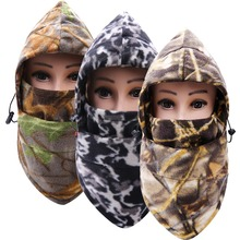 Hot!!! Men Women Camouflage Fleece Cycling Face Mask Winter Warm Beanie Skiing Hat Long Hoody Neckwarmer Exercise mask(China)
