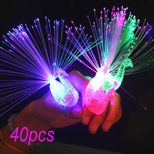 40Pcs Peacock Finger Light Colorful LED Light-up Rings Easter Party Gadgets Kids Intelligent Toy Brain Development-Color Random