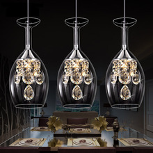 LED Crystal Pendant Lamp Three Head Light AC110V-240V Dining Room Modern Brief Contemporary Restaurant Pendant Light(China)