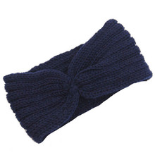 Fashion Design Women Knitted Wool Headband Navy Blue Casual Winter Warm Crochet Headwrap Hairband For Ladies Gift High Quality